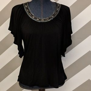 Apostrophe Petite Small Black Top Flutter Sleeves